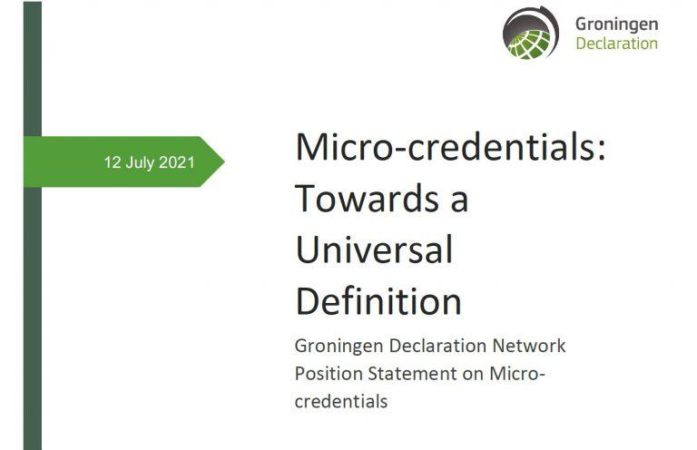 Groningen Declaration Network Position Statement on Microcredentials